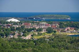 Overview of the city of Marquette Michigan and Lake Superior from ...