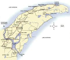 map showing the location of the Keweenaw Peninsula in the Upper ...